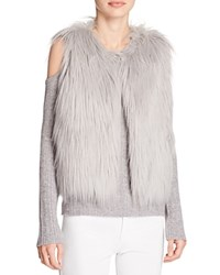 Elie Tahari Lillian Faux Fur Vest Light Grey