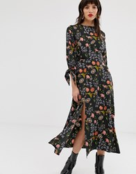 Neon Rose Midaxi Tea Dress With Tie Cuffs And Side Split In Botanical Print Black