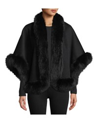 Neiman Marcus Luxury Cashmere Fox Fur Trim Cape Black