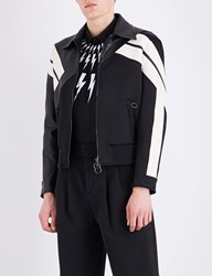 Neil Barrett Panelled Leather And Satin Jacket Black Off White