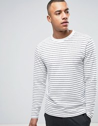 Only And Sons Long Sleeve Top In Bretton Cotton Stripe Dress Blue
