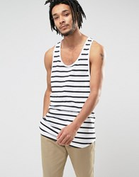 Asos Super Longline Stripe Tank With Extreme Racer Back White