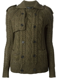 Ralph Lauren Black Cable Knit Cardigan Green