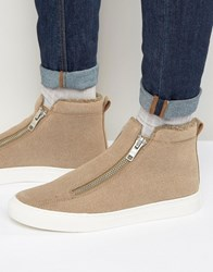 Asos Zip Trainers In Stone With Faux Shearling Lining Stone