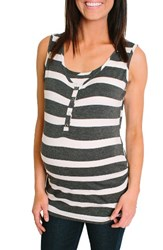Nom Maternity Women's Henley Tank Top Charcoal Wide Stripe