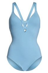 Seafolly Women's Active Deep V One Piece Swimsuit Blue