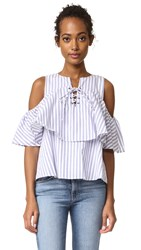 J.O.A. Lace Up Stripe Blouse White Blue