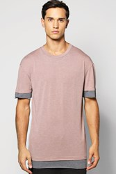 Boohoo Marl T Shirt With Faux Hem Pink