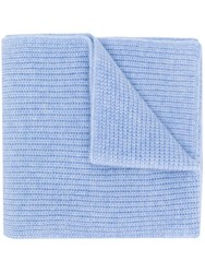 N.Peal Chunky Ribbed Cashmere Scarf Blue