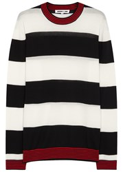 Mcq By Alexander Mcqueen Striped Wool Jumper Black And White