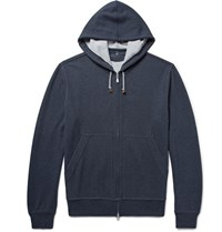 Brunello Cucinelli Cotton Blend Jersey Zip Up Hoodie Storm Blue