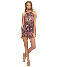Lucky Brand Tapestry High Neck Romper Cover Up Raspberry Women's Jumpsuit And Rompers One Piece Pink