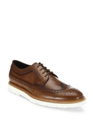Tod's Wingtip Perforated Leather Oxford Shoes Dark Camel