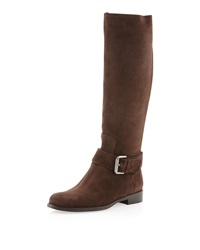 Sesto Meucci Dusty Suede Buckled Boot Dark Brown