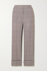 Akris Maxima Checked Wool Straight Leg Pants Gray