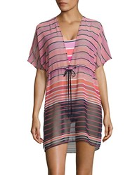 Michael Kors Abby Stripe V Neck Caftan Electric Pink