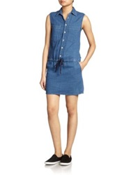 Mother Sleeveless Denim Shirt Dress Blue