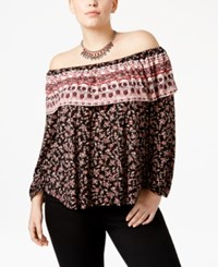 American Rag Trendy Plus Size Off The Shoulder Peasant Top Only At Macy's Classic Black Combo