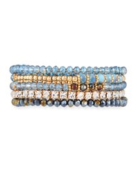 Emily And Ashley Mixed Crystal Bead Stretch Bracelets Blue