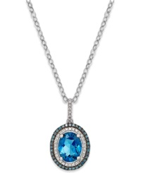 Macy's 14K White Gold London Blue Topaz 3 Ct. T.W. And Diamond 1 4 Ct. T.W. Pendant Necklace