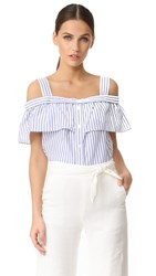 Veronica Beard Lacey Cold Shoulder Top Blue White