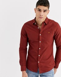 Farah Brewer Slim Fit Oxford Shirt In Burnt Red