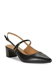 Calvin Klein Leather Pointed Toe Slingbacks Black