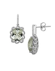 Lord And Taylor Sterling Silver Green Amethyst Diamond Earrings