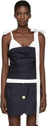 Jacquemus Navy And White Le Top Bustier Tank Top
