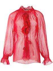Roberto Cavalli Ruffled Sheer Blouse Red