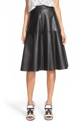 J.O.A. Faux Leather Midi Skirt Black
