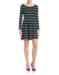 Eliza J Long Sleeve Striped Fit And Flare Dress Green
