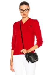 Comme Des Garcons Play Double Emblem V Neck Sweater In Red
