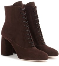 Miu Miu Suede Ankle Boots Brown