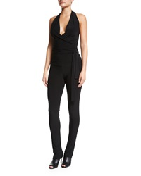 Norma Kamali Halter Neck Wrap Jumpsuit Black
