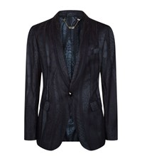 Billionaire Snakeskin Effect Jacket Male Midnight