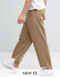 Asos Wide Cropped Trousers With Raw Hem In Stone Cord Stone