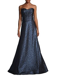 Rene Ruiz Textured Strapless Gown Blue