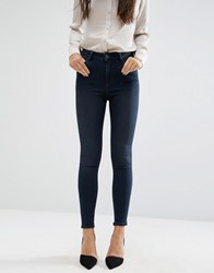 Asos Ridley High Waist Skinny Jeans In Vivienne Deep Dark Wash Blue Darkwash Blue