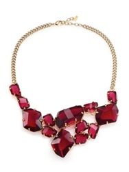 Abs By Allen Schwartz Jewelry Some Like It Hot Faceted Stone Bib Necklace Gold Red