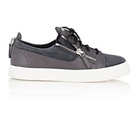 Giuseppe Zanotti Men's Leather And Suede Double Zip Sneakers Dark Grey