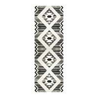 Hibernica Kathmandu Striped Vinyl Floor Mat Black White Black And White