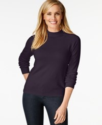 Karen Scott Mock Turtleneck Long Sleeve Sweater Only At Macy's Victorian Purple