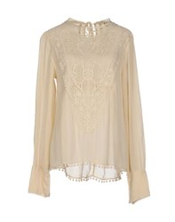 High Shirts Blouses Women Beige