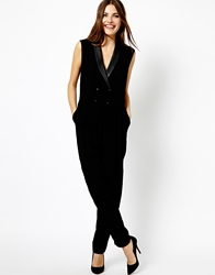 Mango Tailored Tux Jumpsuit Black