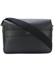 Dolce And Gabbana Flap Messenger Bag Men Cotton Calf Leather One Size Black