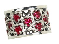King Baby Studio Heart Patterned Ring With Garnet Stones Sterling Silver Garnet Ring