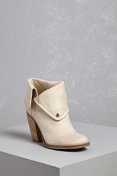 Forever 21 Sbicca Faux Suede Heel Boots Ivory