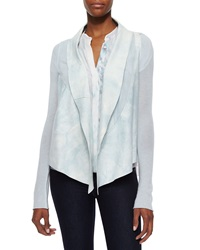 Elie Tahari Caleigh Watercolor Suede Front Jacket White Mint