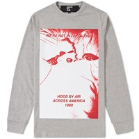 Hood By Air Long Sleeve America Tee Grey